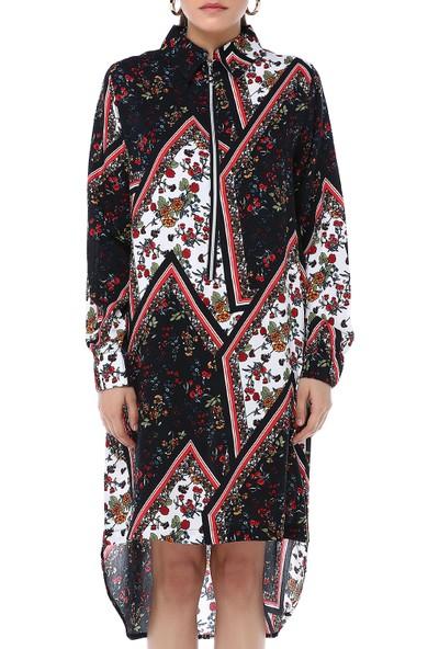 Ust Kadın Kırmızı Çiçekli Elbise
