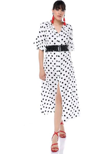 Ust Kadın Elbise Beyaz Benekli Siyah