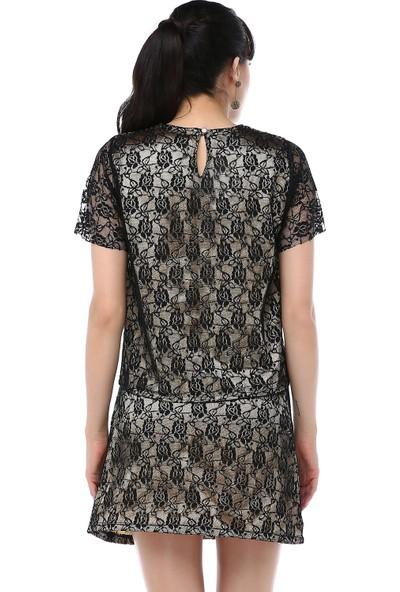 Ust Kadın Siyah Dantel Bluz