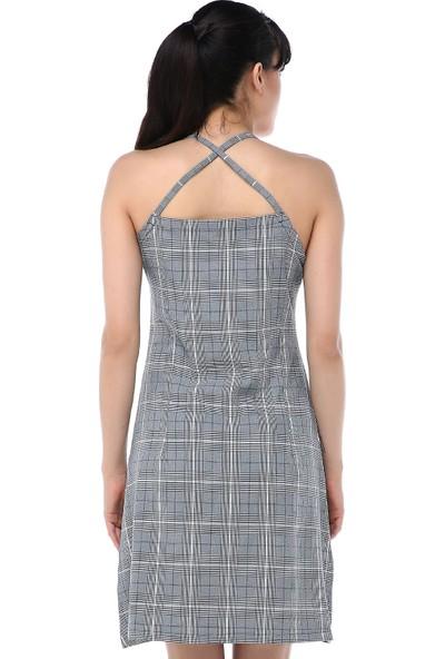 Ust Kadın Elbise Gri Desenli