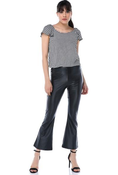 Ust Kadın Pantolon Deri Siyah