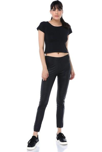 Ust Kadın Pantolon Deri Desenli Siyah