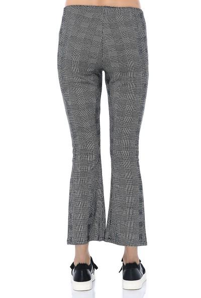 Ust Kadın Pantolon Gri Kareli
