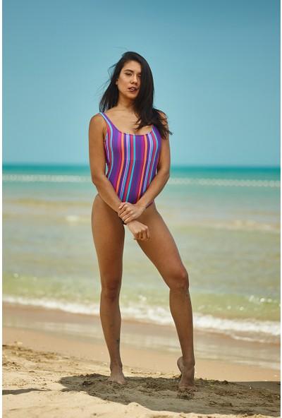 ZiButik Mor Renkli Şeritli U Yaka Mayo