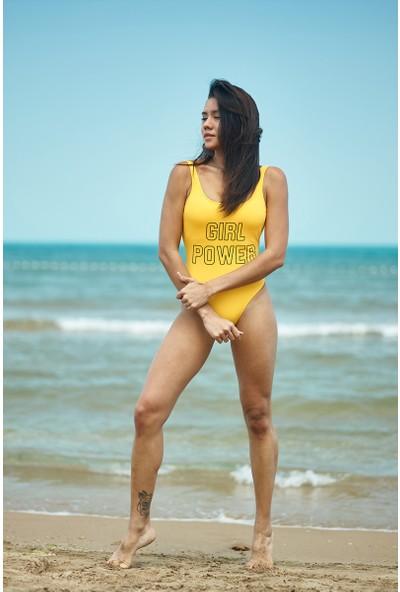 ZiButik Sarı Girl Power Baskılı Mayo
