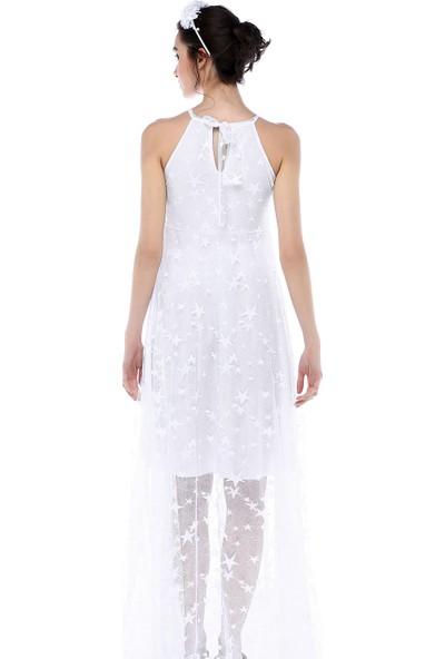 Moda Labio - Kısa Astarlı Yıldız Tül Elbise Beyaz