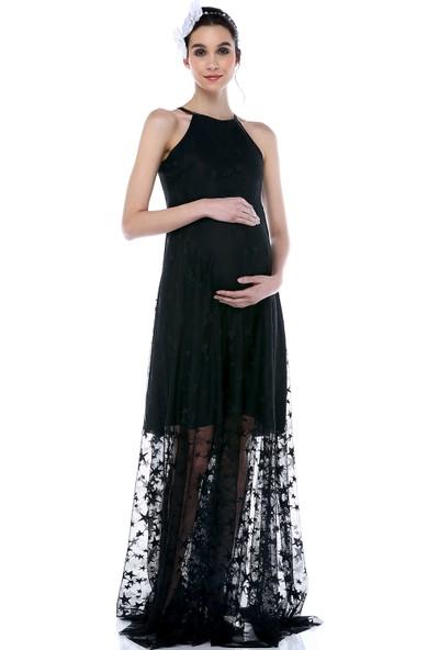 Moda Labio - Kısa Astarlı Yıldız Tül Elbise Siyah