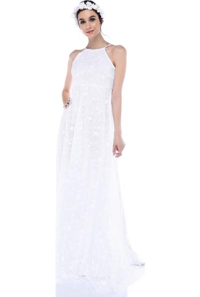 Moda Labio - Yıldız Tül Elbise Beyaz