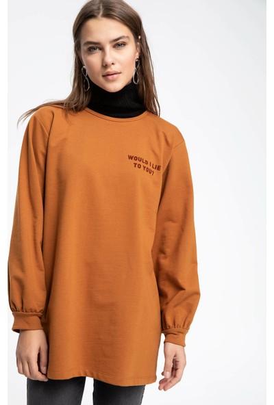 Defacto Kadın Slogan Baskılı Tunik