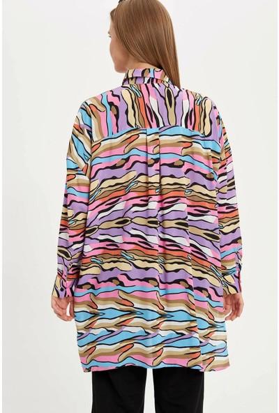 Defacto Kadın Desenli Relax Fit Gömlek Tunik