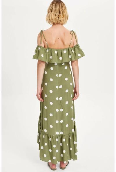 Defacto Kadın Puantiyeli Fırfırlı Plaj Elbisesi