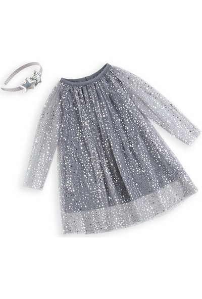 Unika Moda Yıldızlı Gri Tül Kız Çocuk Elbise