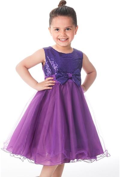 Unika Moda Mor Pullu ve Fiyonklu Kız Çocuk Elbise