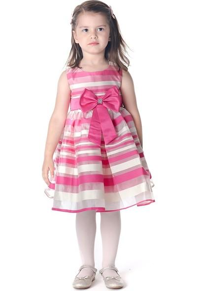 Unika Moda Pembe Beyaz Çizgili Kabarık Etekli Kız Çocuk Elbise