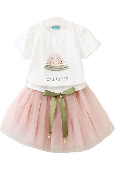 Unika Moda Beyaz Karpuzlu T-Shirt ve Pembe Tütü Etek Kız Çocuk Elbise
