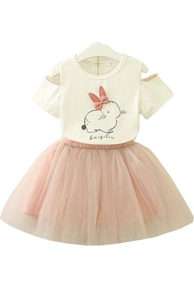Unika Moda Beyaz Tavşanlı T-Shirt ve Pembe Tütü Etek Kız Çocuk Elbise