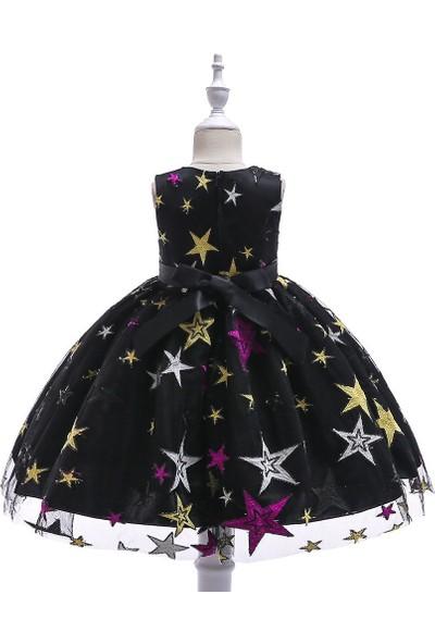 Unika Moda Yıldızlı Parti Doğum Günü Düğün Kız Çocuk Elbise