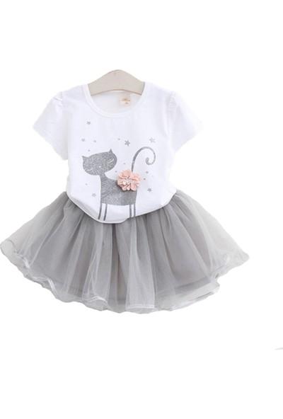 Unika Moda Beyaz Kedili T-shirt ve Gri Tütü Etek Kız Çocuk Elbise