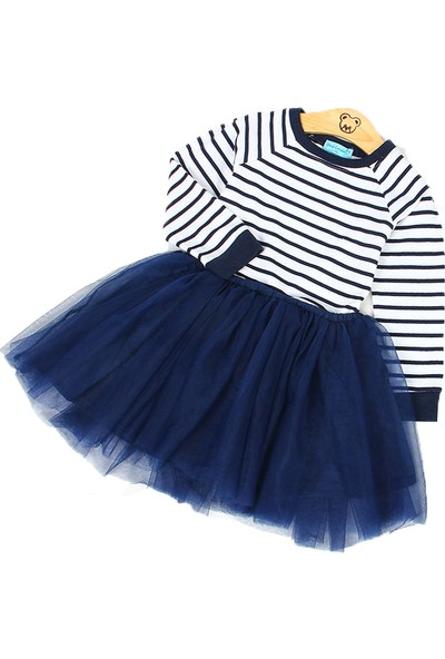 Unika Moda Lacivert Beyaz Çizgili Tütü Elbise Kız Çocuk Doğum Günü Parti Elbisesi