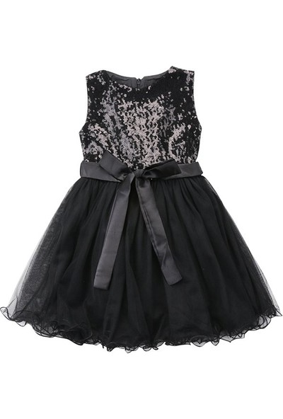 Unika Moda Siyah Pullu Kız Çocuk Parti Elbisesi