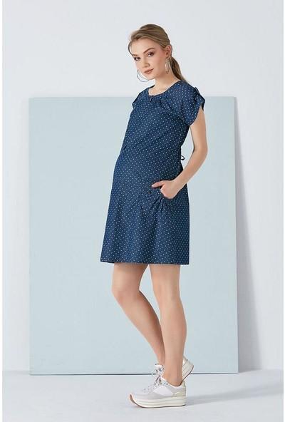 Işşıl 5048-Denim Puanlı Mini Elbise