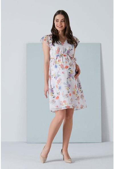 Işşıl 2871-V Yaka Çiçekli Mini Şifon Elbise
