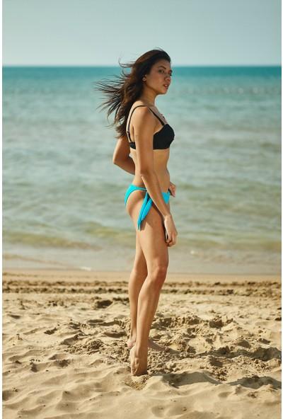 ZiButik Turkuaz Bağcıklı Bikini Altı