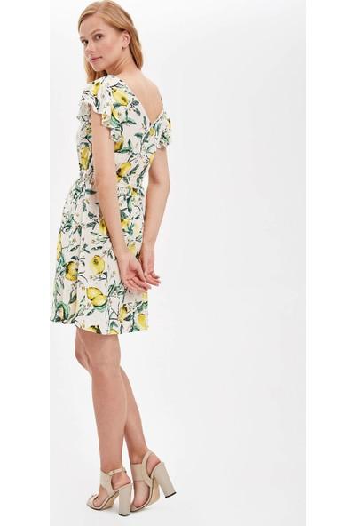 Defacto Kadın V Yaka Çiçekli Fırfırlı Elbise