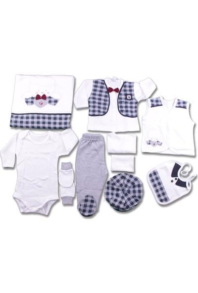 Gaye 10'lu Zıbın Set Erkek Bebek Giyim Hastane Çıkışı %100 Pamuk