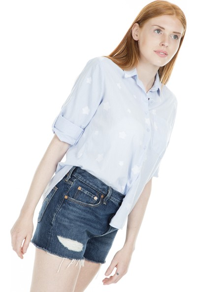 Lela Yıldız Baskılı Kadın Gömlek 5143018