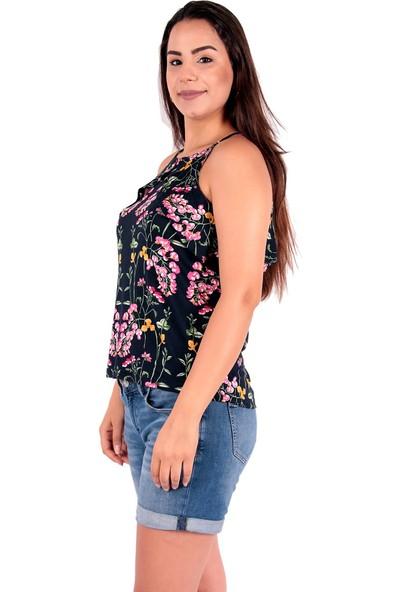 Red Hot Best Çiçek Desenli Fırfırlı Kolsuz Bluz