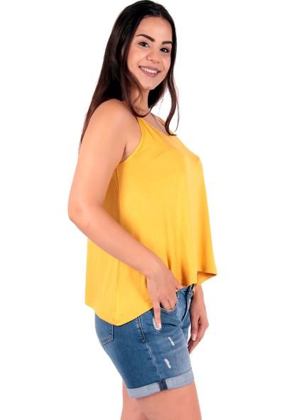 Red Hot Best Safran Sarısı Askılı Bayan Bluz