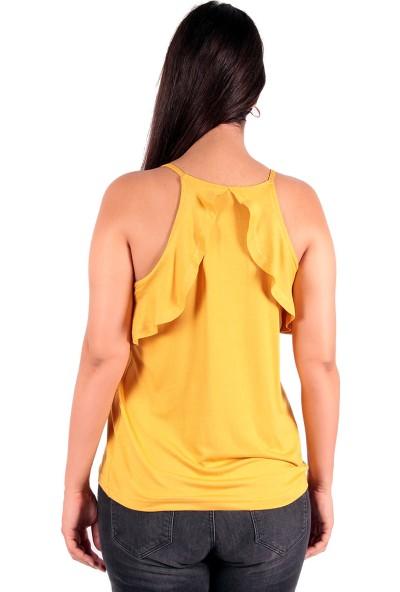 Red Hot Best Safran Sarısı Fırfırlı Kolsuz Bluz