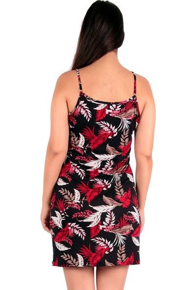 Red Hot Best Çiçek Desen Baskılı Yazlık Askılı Dizüstü Elbise