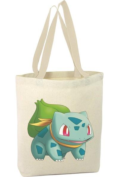 Angemiel Pokemon Bulbasaur Alışveriş Plaj Bez Çanta