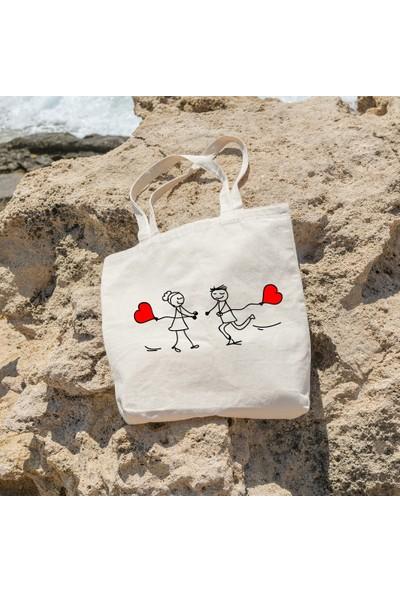 Angemiel Kalpli Balonla Birbirine Koşan Sevgililer Alışveriş Plaj Bez Çanta