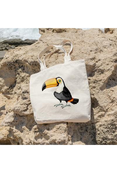 Angemiel Gagalı Kuş Resimli Alışveriş Plaj Bez Çanta