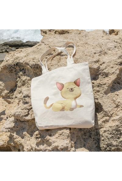 Angemiel Minnoş Yavru Kedi Alışveriş Plaj Bez Çanta