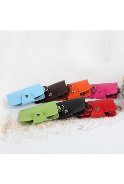 Erkek Kadın Çok Fonksiyonlu Düğmeli Araba Anahtarı Kılıfı Moda Ev Tutucu Kılıf Cüzdan Pembe