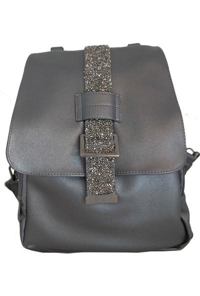 Avi Bags Gri Taş Detaylı Kadın Sırt Çantası (Lrs404)