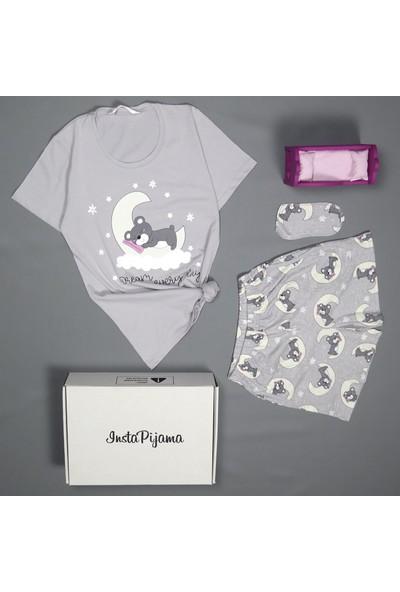 İnsta Pijama Gri Dream Bear Desenli Şortlu Kadın Pijama Takımı