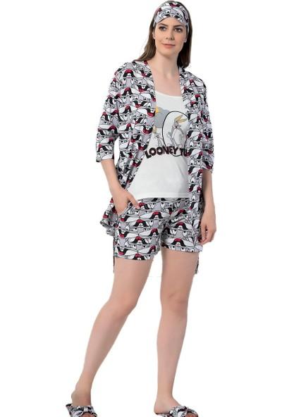 İnsta Pijama Bugs Bunny Desenli Şortlu Sabahlıklı Pijama Takımı