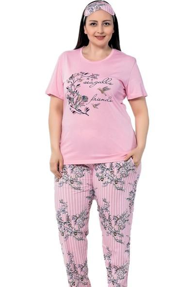 İnsta Pijama Pembe Kuş Çiçek Desenli Battal Pijama Takımı