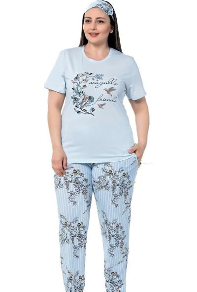 İnsta Pijama Mavi Kuş Çiçek Desenli Battal Pijama Takımı