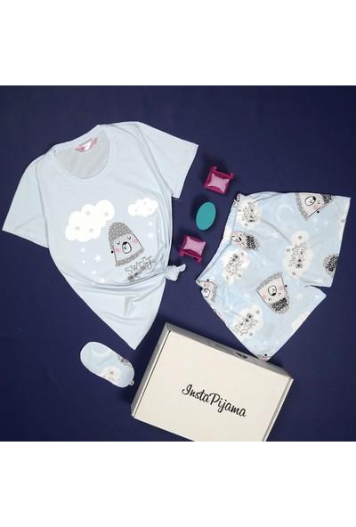 İnsta Pijama Sweet Dream Desenli Şortlu Kadın Pijama Takımı