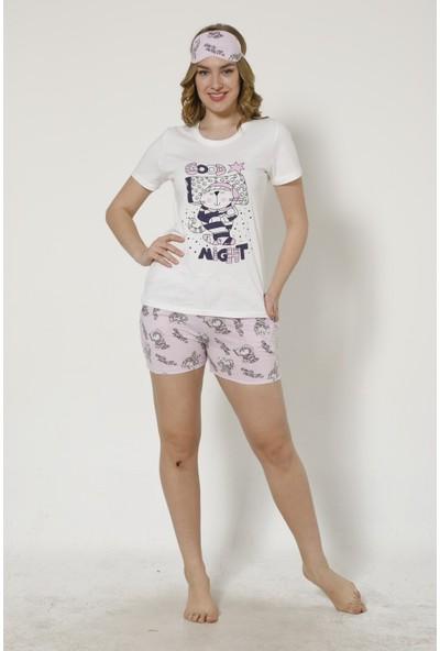 İnsta Pijama Tavşan Desenli Şortlu Kadın Pijama Takımı