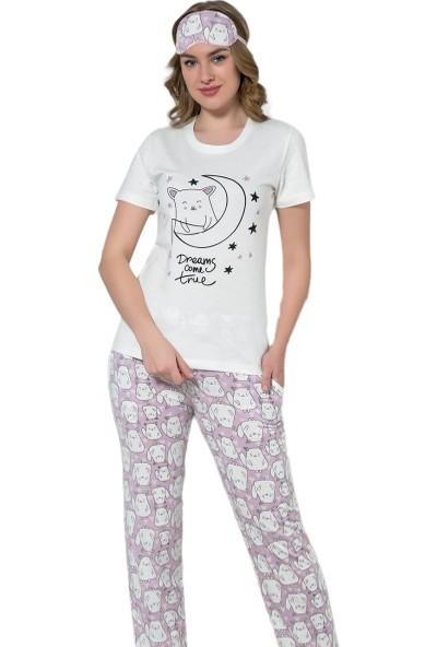 İnsta Pijama Tilki Desenli Kısa Kollu Pijama Takımı