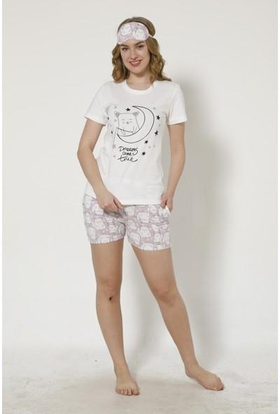 İnsta Pijama Tilki Desenli Şortlu Kadın Pijama Takımı