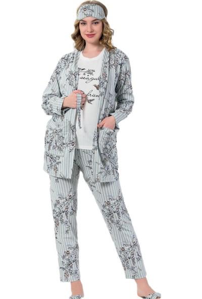 İnsta Pijama Yeşil Çiçek Kuş Desenli Sabahlıklı Pijama Takımı