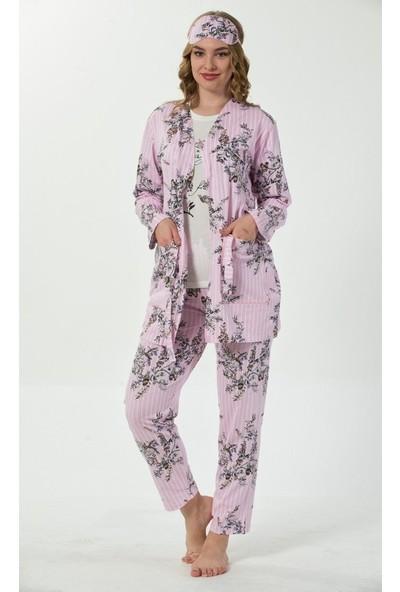 İnsta Pijama Açık Pembe Çiçek Kuş Desenli Sabahlıklı Pijama Takımı